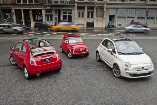 2012 Fiat 500c Pop (left) with 1962 Fiat 500 (center) and 2012 F