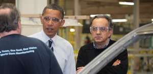 President Obama with Sergio Marchionne wearing sweater.