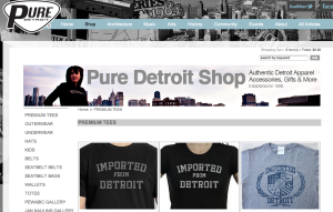"Visiting the Pure Detroit website we were able to find ""Imported From Detroit"" shirts for sale."
