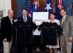Texas Governor Rick Perry with V8 Supercars representatives.